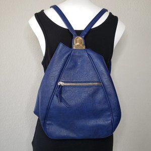 Deena & Ozzy | Vegan Leather Blue Backpack Purse